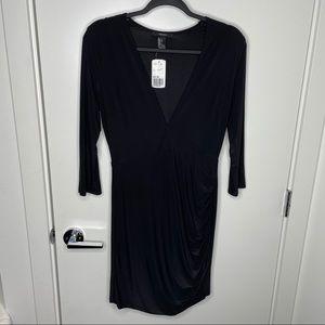 🎁4/20$🎁 NWT deep V neck silky black dress